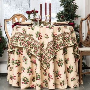 April Cornell Tablecloth Holly Berry 36x36 NWT